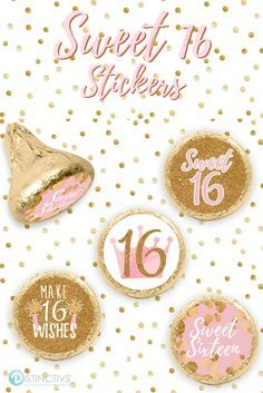 Pink and Gold Sweet Sixteen Stickers - 180 Count #sweet16birthdayparty