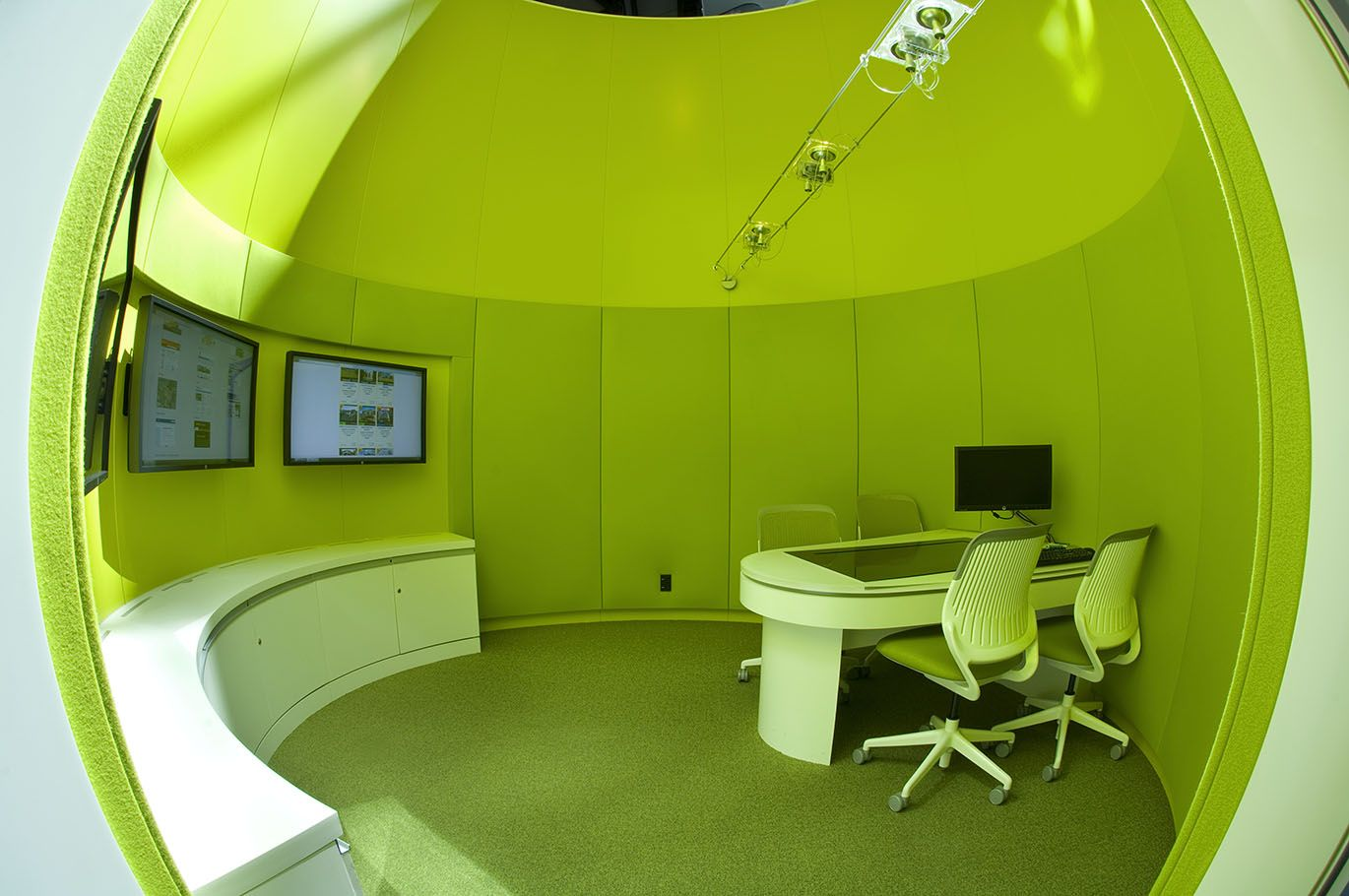 Media Silo Meeting Room With Acoustic Curved Wall Panels By Asona Ltd Nz Wall Panels Meeting Room Commercial Interiors
