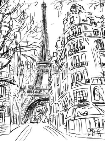 Street In Paris Sketch Illustration Stock Photo 50283207