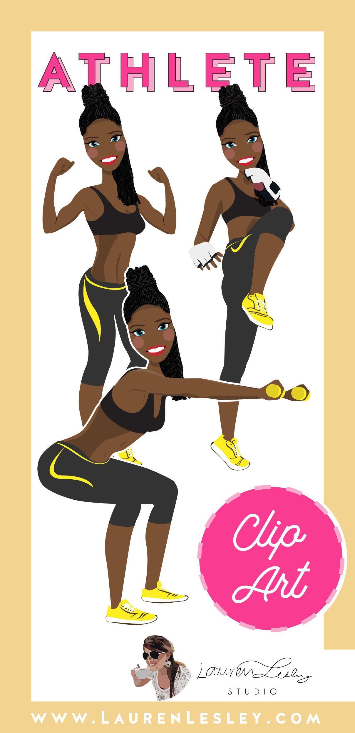 Athlete Clip Art Whitney Fitness logo design