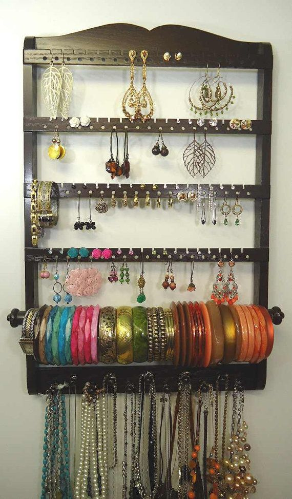 Wall Hanging Cocoa Brown Jewelry Holder Oak Hardwood Earring Organizer Bangle Bar Necklace Bracelet Display