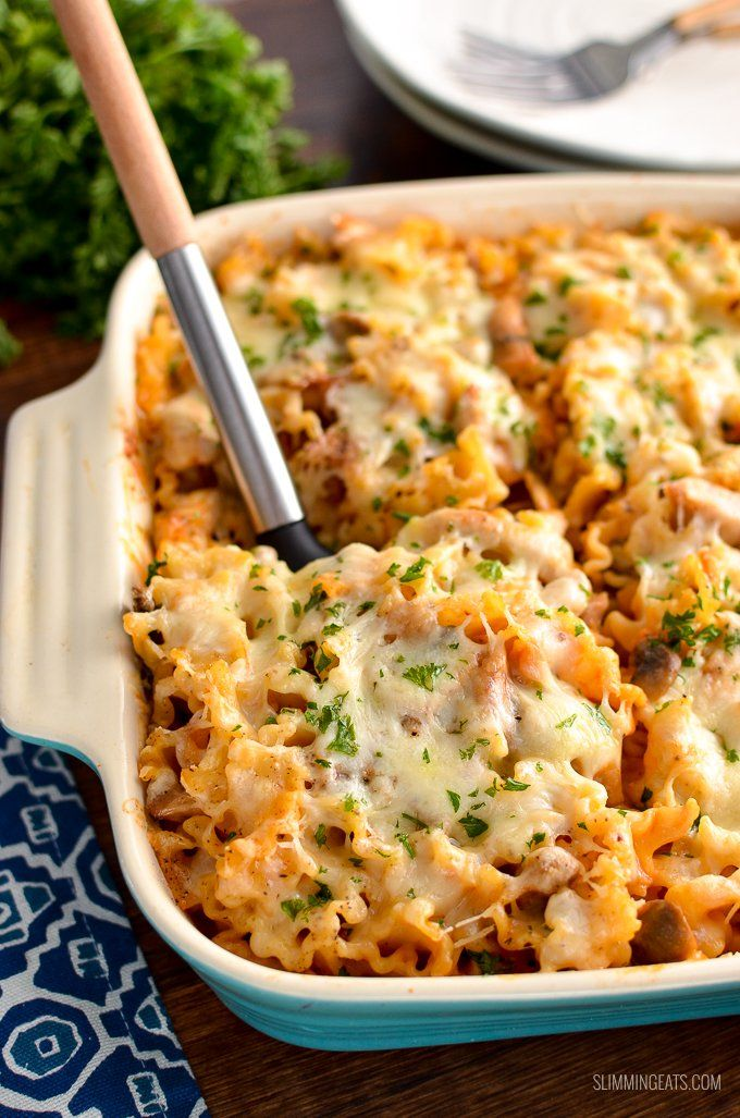Low Syn Creamy Chicken Mushroom Tomato Pasta Bake Rustle Up This Amazing Tasty Pasta Bake For