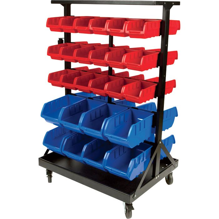The Performance Tool Double Sided Rolling Storage Rack Comes With 36 Small Red Bins And 16 Large Has Casters Handle For Easy