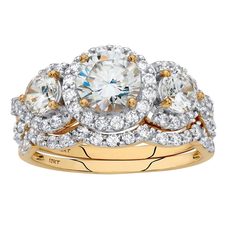 10K Yellow Gold Round Cubic Zirconia Halo Scalloped Bridal