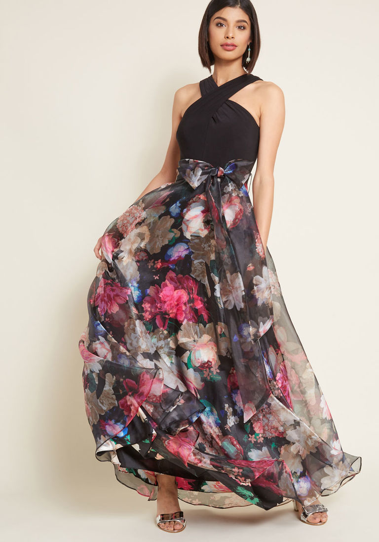 Eliza j influential elegance floral maxi dress in black pinterest