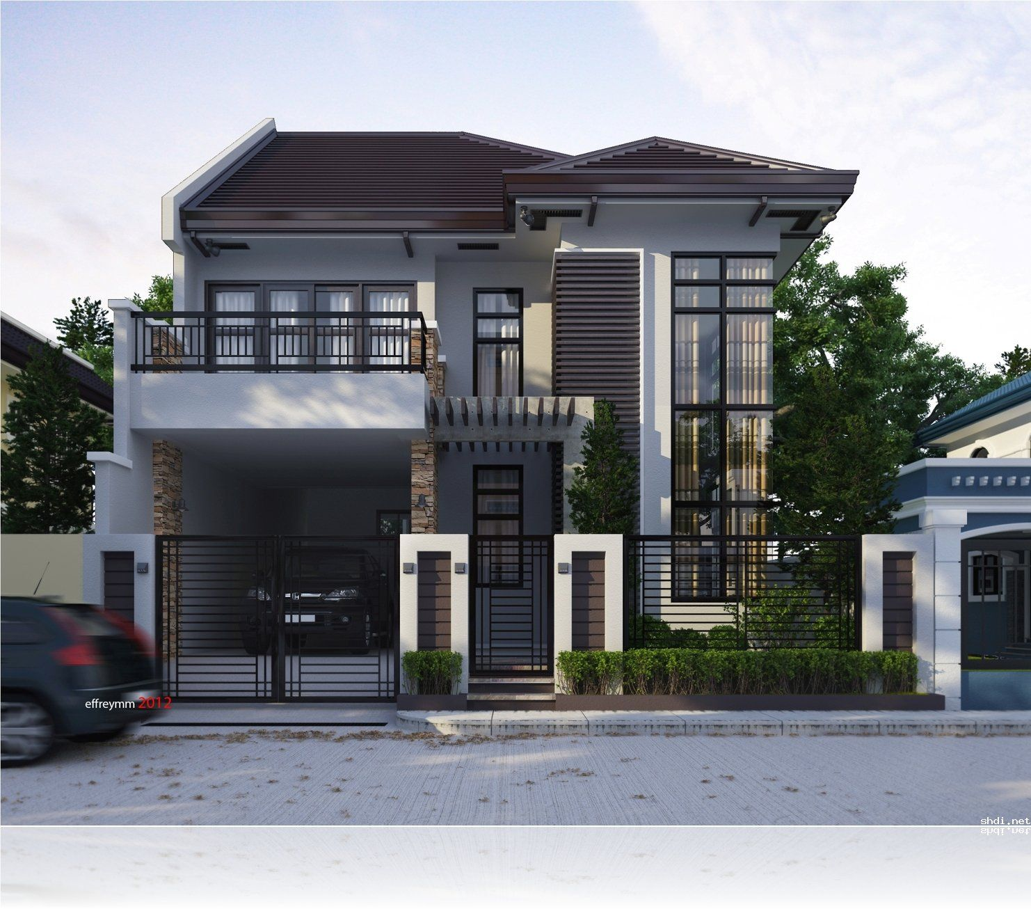 Home Design Ideas Classy: Modern Two Storey And Terrace House Design Ideas Simple