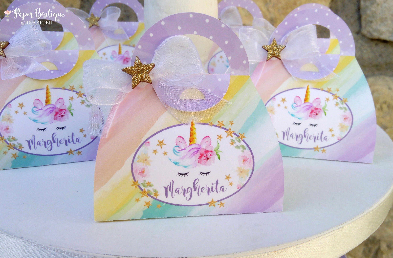 Scatoline Portaconfetti Scatolina Porta Confetti Fai Da Te Borsetta Unicorno Bomboniere Battesimo Bomboniere Comunione In 2020 Papar Cake