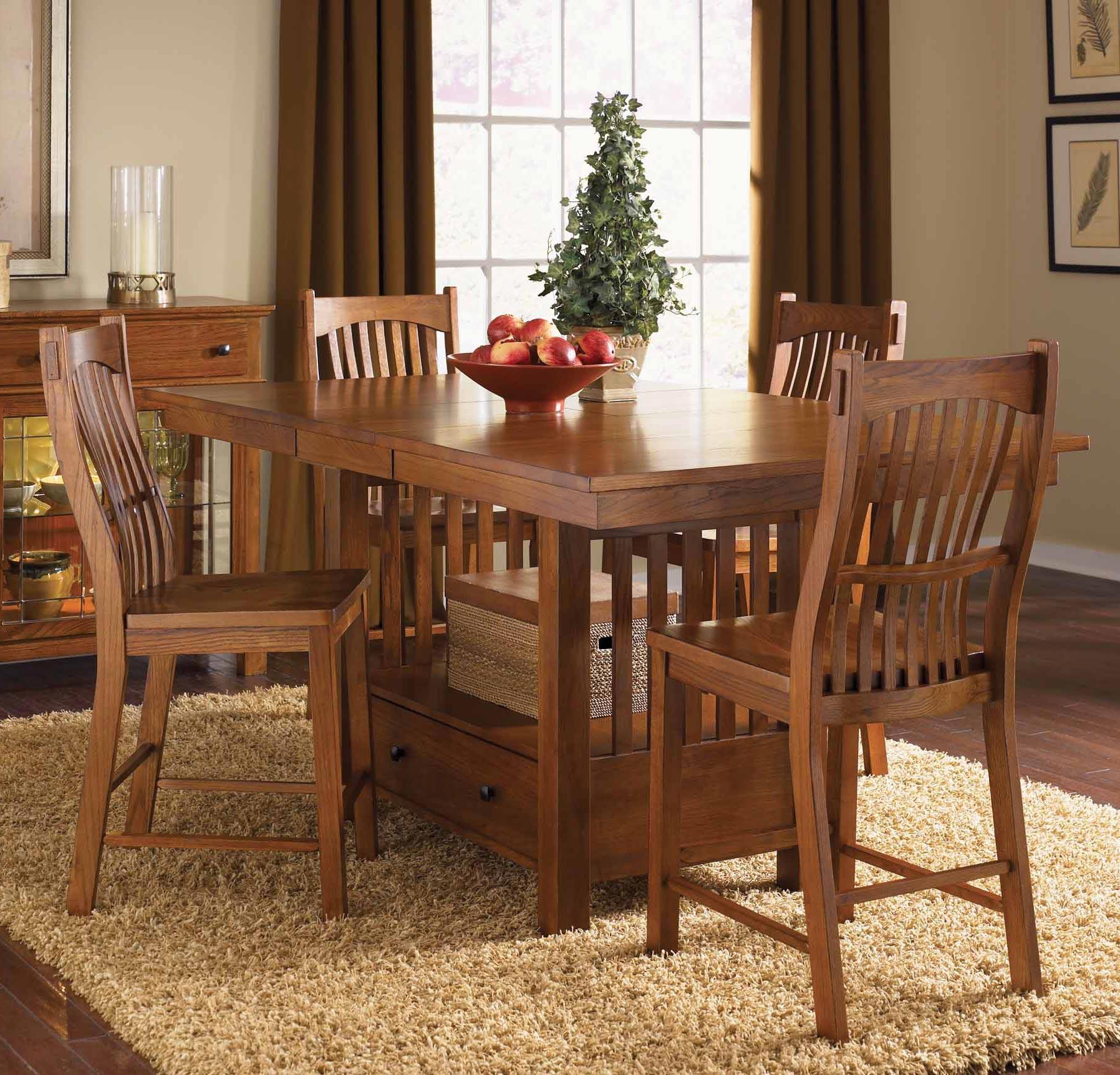 Laurelhurst Rectangular Gathering Height Dining Table In Mission Custom Oak Dining Room Inspiration Design