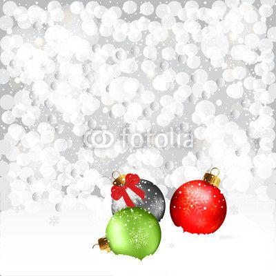 #Vector #Christmas #Balls In #Snowfall #winter #holidays