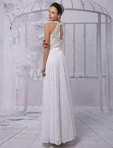368cd58efd5 A-line Princess Scoop Neck Floor-Length Chiffon Lace Wedding Dress With  Beading