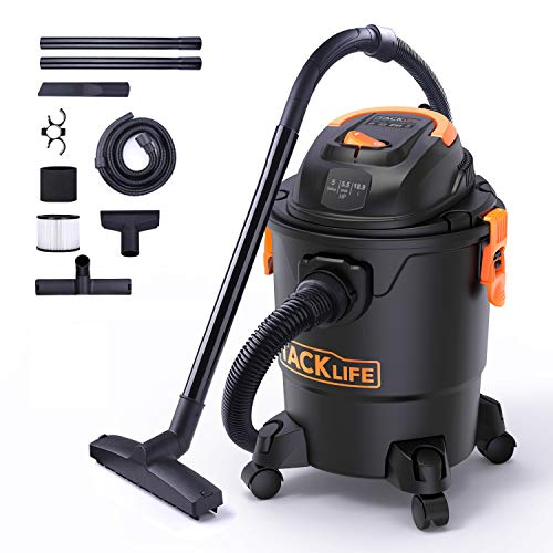 TACKLIFE Wet/Dry Vacuum, 5 Gallon, 5.5 Peak HP with 17 FT