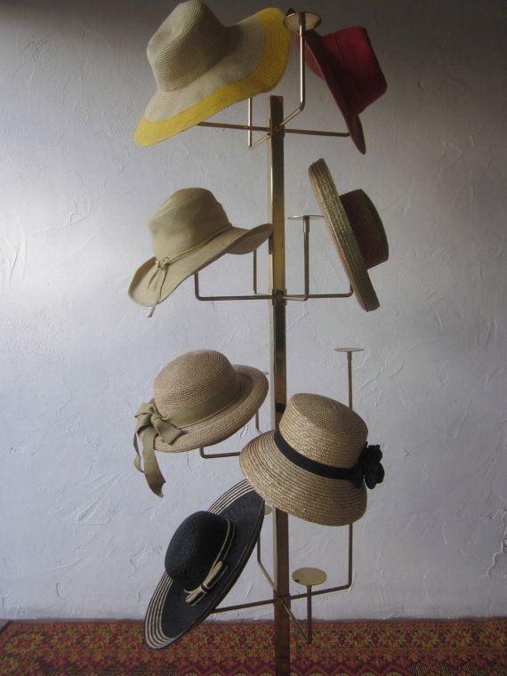 Huge Tall Modernist Brass Metal Vintage Hat Tree By Welovelucite 450 00 Shipping Brass Metal Hat Storage Hat Stands