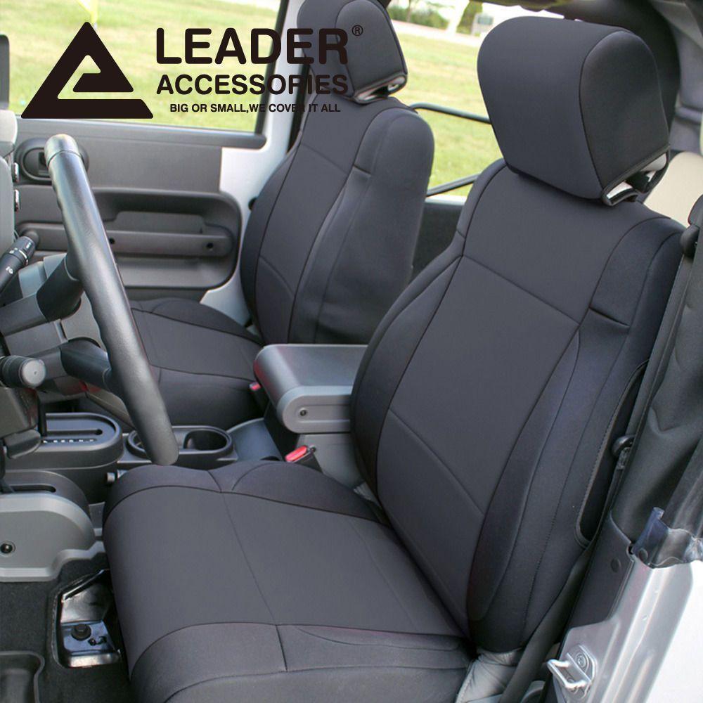 Front and Rear Neoprene Seat Covers Black for Jeep Wrangler JK 13-18 4 Door