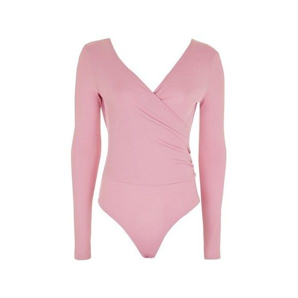 TopShop Long Sleeve Wrap Ribbed Body (80 BRL) ❤ liked on Polyvore featuring tops, mauve, topshop tops, long sleeve wrap top, wrap tops, wrap style top and v neck wrap top