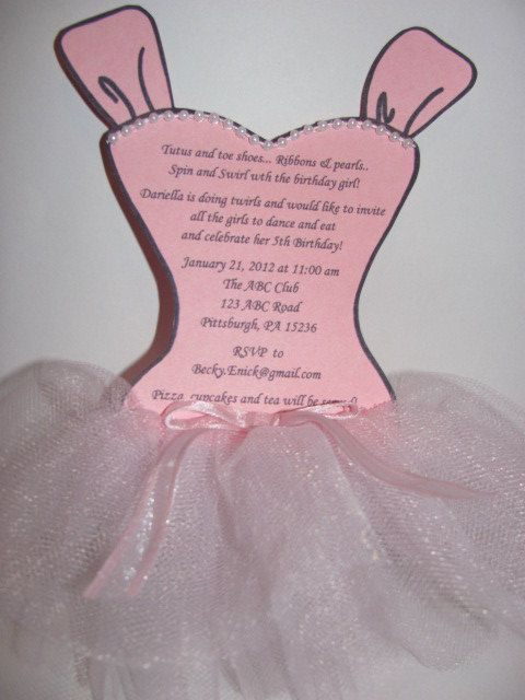 Stella 20 Ballerina tutu party invitations by BeckyEnick on Etsy