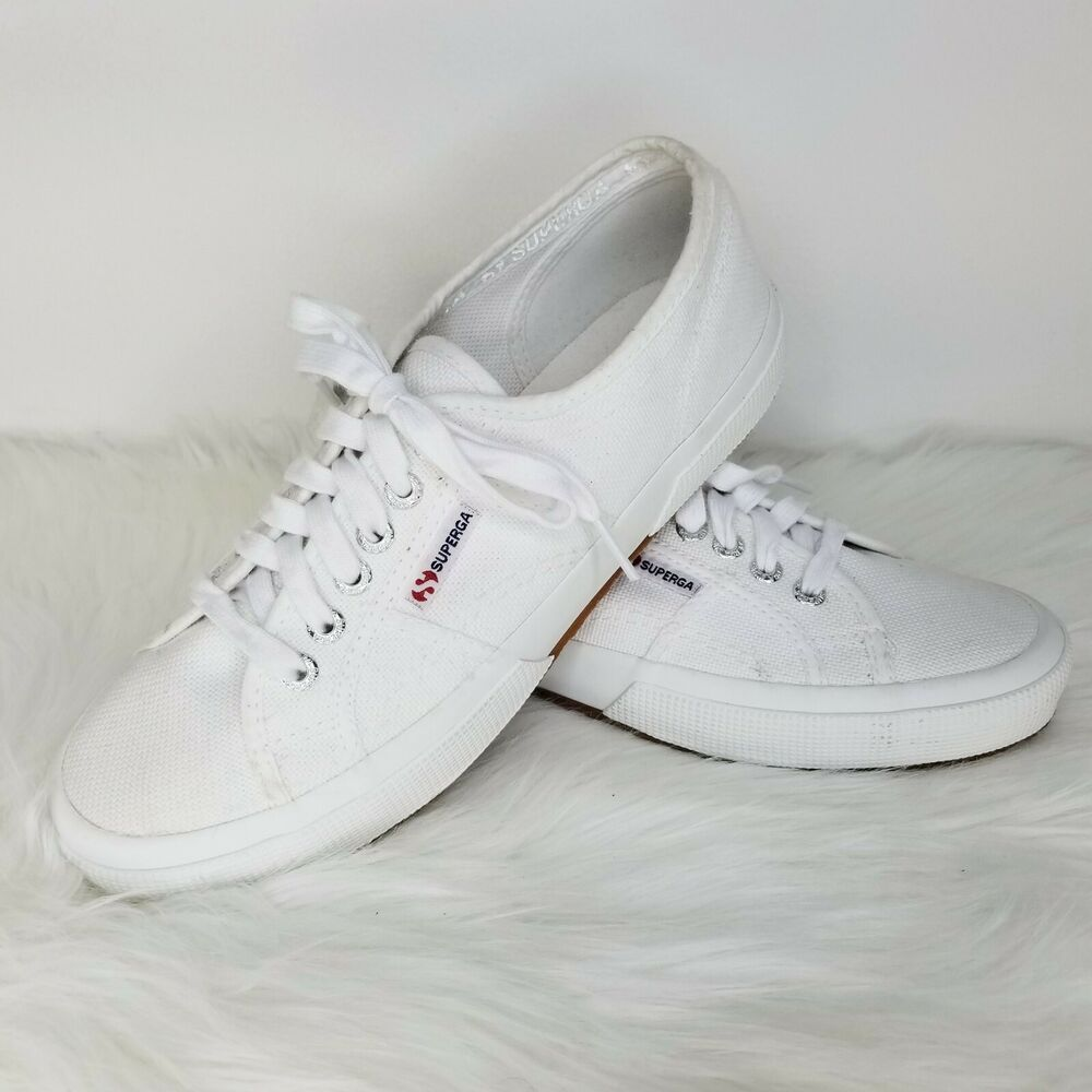 nwot SUPERGA 2750 Cotu Classic White Canvas Sneakers Womens US 8.5 ... a837c7a68