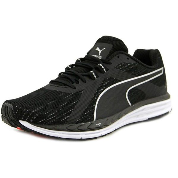 Puma Puma Speed 500 Ignite Nightcat Round Toe Synthetic Running Shoe ($98) ❤ liked on Polyvore featuring shoes, athletic shoes, black, low heel shoes, running shoes, black athletic shoes, kohl shoes and black shoes