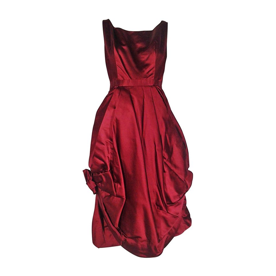 S nan duskin red cocktail dress featuring floral inspired draped