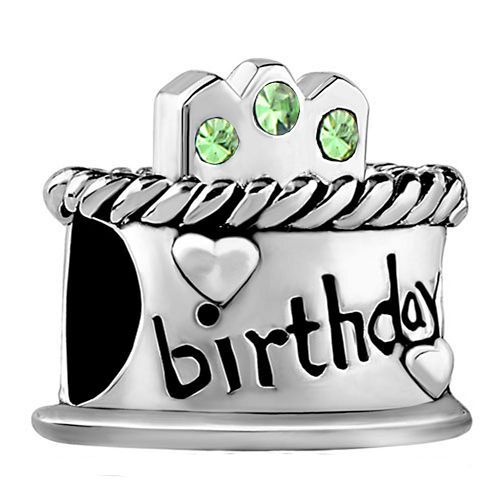 Happy Birthday Cake .925 Sterling Silver Pale Green August Birthstone Bead Fit Pandora Charms