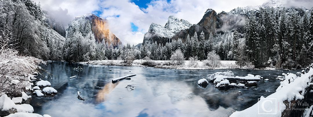 """""""Gates of the Valley"""" Yosemite NP in the snow"""