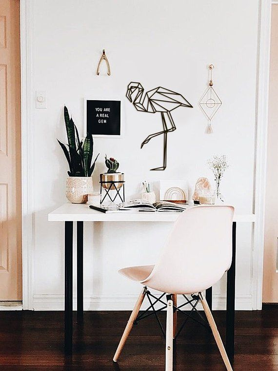 Metal Wall Art Geometric Flamingo Sign Animal Interior Home Decor Polygonal Scandi Minimalistic Office hanging Kids decal monochromatic -   22 desk decor shelves