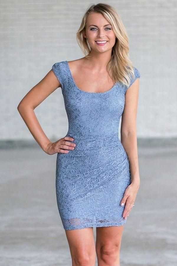 Slate Blue Sheath Dress