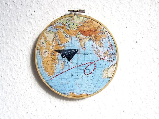 Beautiful Wanddeko Weltkarte FlieGER auf WeltReisen ein Designerst ck von renna deluxe bei DaWanda