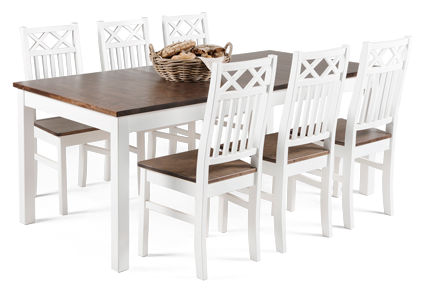 ANNA-ruokapöytä ja 6 ANNA-tuolia