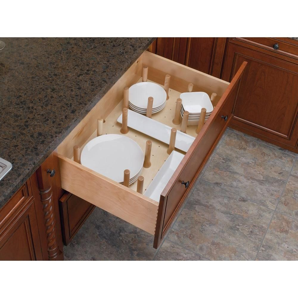 Rev A Shelf 6.62 In. H X 24.25 In. W X 21.25 In. D Small Cabinet Drawer Peg  System Insert With Wood Pegs 4DPS 2421   The Home Depot