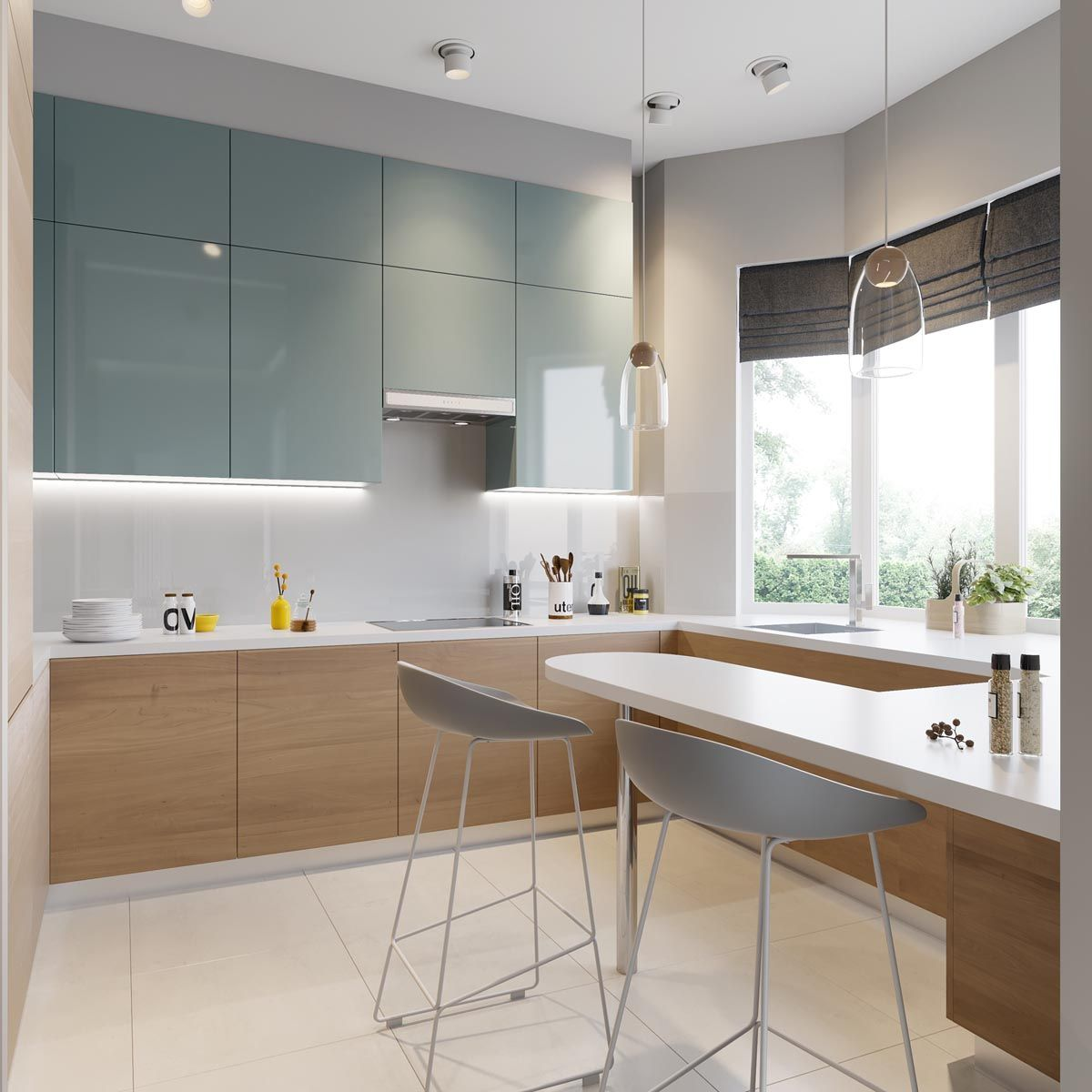 Apartment Kitchens Designs: 5 Contrasting Small Apartment Designs