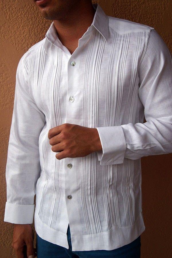 guayabera dress shirt pleated fly front french cuff premium italian linen shirt guayabera weddingwedding shirtsfrench cuffmexican