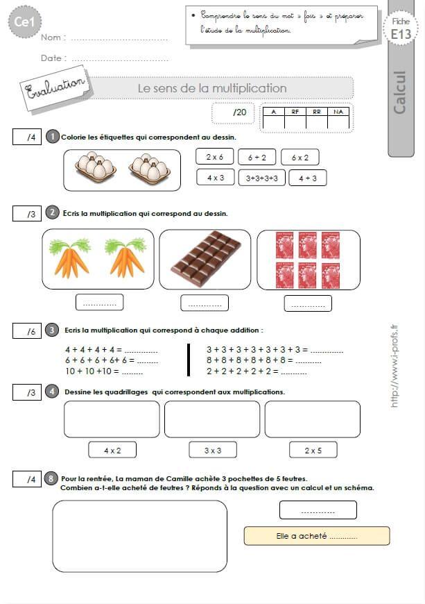 Ce1 cycle2 evaluations corrigees le sens de la multiplication et les tables de x 2 me ann e - Evaluation tables de multiplication ...