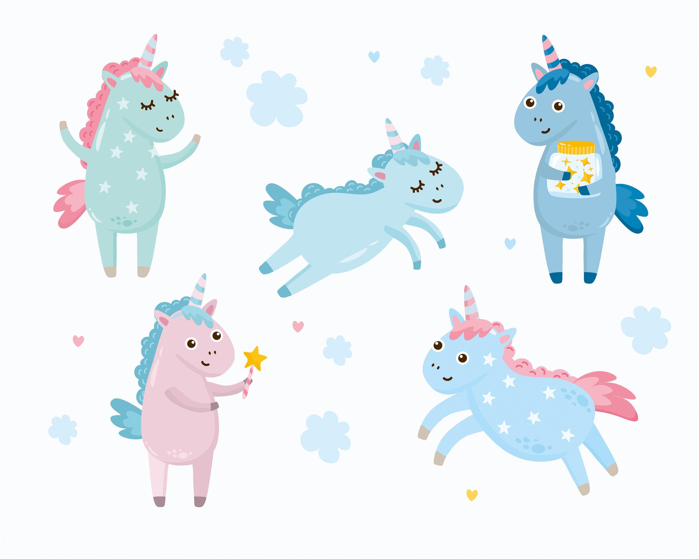 Cute Unicorns Animals Clipart Vector Illustration Set Etsy In 2020 Animal Clipart Clip Art Cute Unicorn