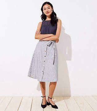 a59f957868 LOFT Petite Striped Tie Waist Button Front Skirt in 2019 | Products ...