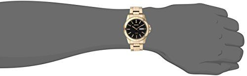 Seiko Men's SNE100 Solar Functional Watch  Casual watch, Solar-powered movement, Japanese quartz movement for secondary battery, Overcharging prevention feature, Polished gold-tone sword hands with luminous accents and sweep seconds, Applied polished gold-tone baton markers with luminescent tips, Gold-tone indices form surrounding minute track, Dual panel analog day-and-date aperture at three o'clock, Brushed black dial with beige logo applique, Brushed/polished gold-tone stainless s..