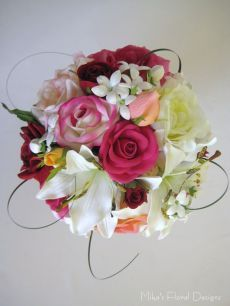 Mixed roses lily and stephanotis round bouquet in garden style 125 mixed roses lily and stephanotis round bouquet in garden style 125 rose lilysilk flowerslilieswedding mightylinksfo