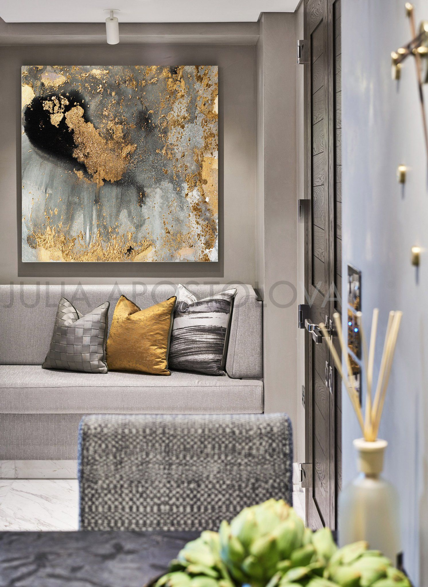 45 Gray Gold And Black Watercolor Large Goldleaf Reproduction Abstract Wall Art For Modern Interiors Xxl Canvas Print Painting By Julia Large Wall Decor Gold Living Room Living Decor #wall #art #contemporary #living #room