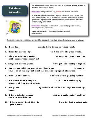 Worksheet | Relative Adverbs | Complete each sentence using the ...