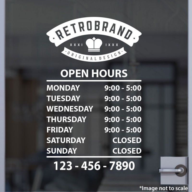 Open Hours With Logo Style 20 Storefront Signage Window Signage Storefront Design