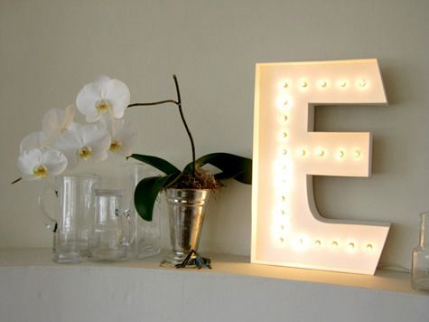 Marquee lamp using christmas lights and foam core!!  Easy peacy.