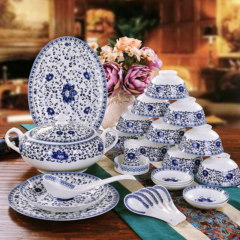 High-end chinaware 58 pieces European high-grade bone china blue and ...