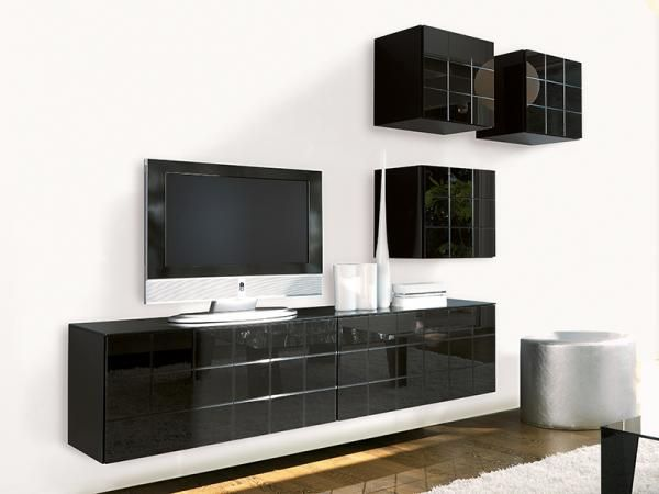 Contemporary High Gloss Black Wall Storage System by Unico mueble