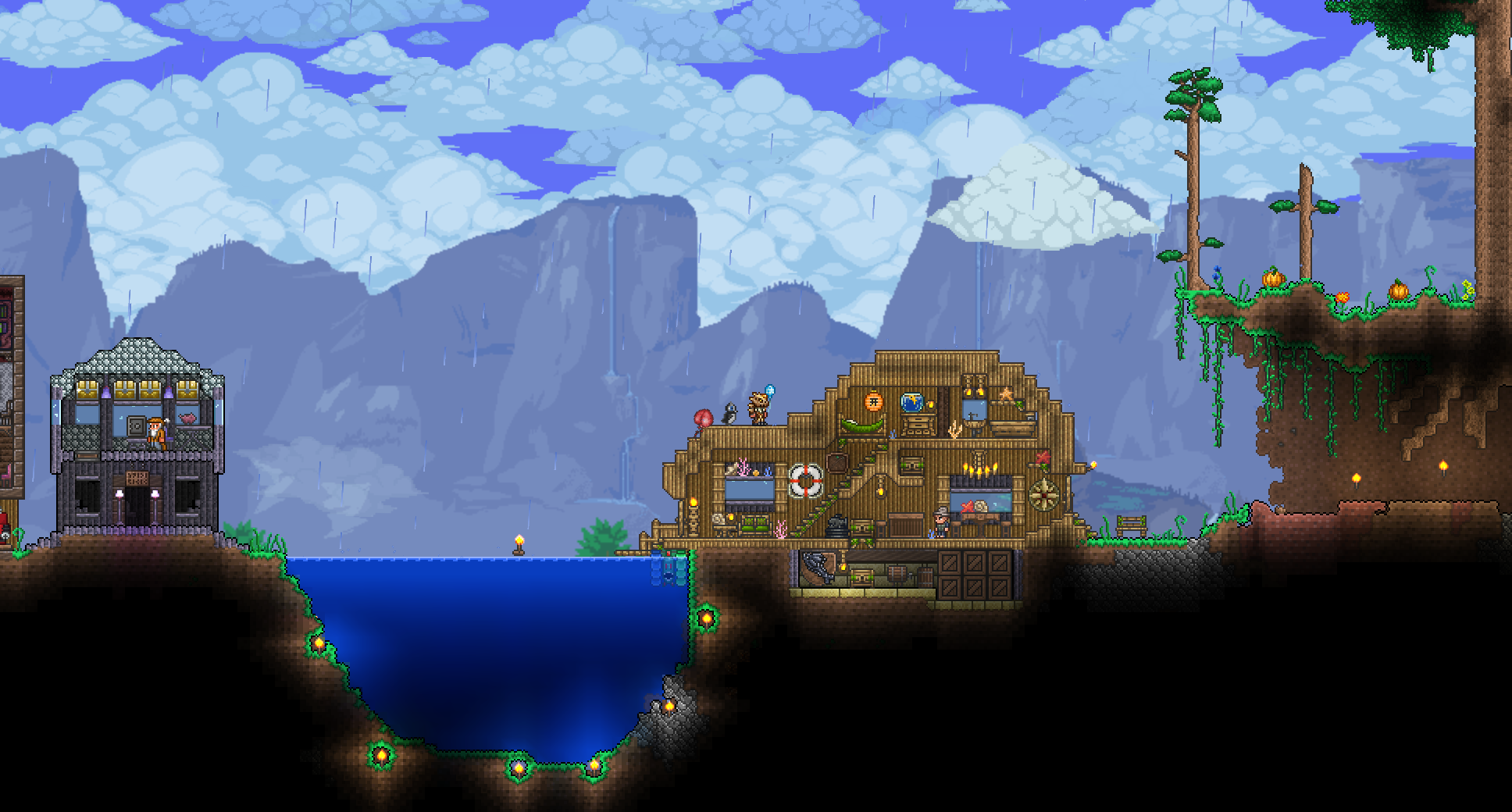 One Of My Old Fishing Huts Terraria Base Inspiration Pinterest Wiring Station Starbound Fr