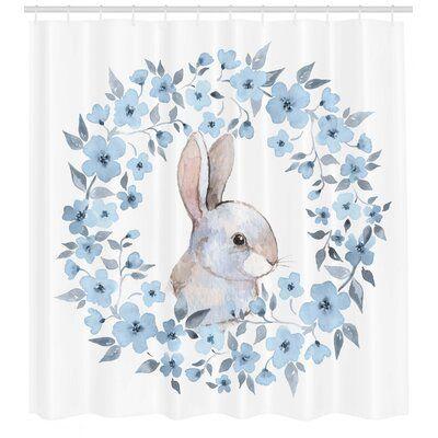 Photo of East Urban Home Watercolor Flower Shower Curtain Set + Hooks | Wayfair