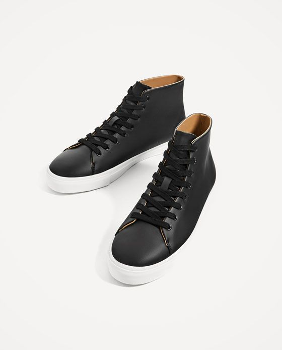 ZARA - MAN - BLACK MINIMAL HIGH-TOP SNEAKERS