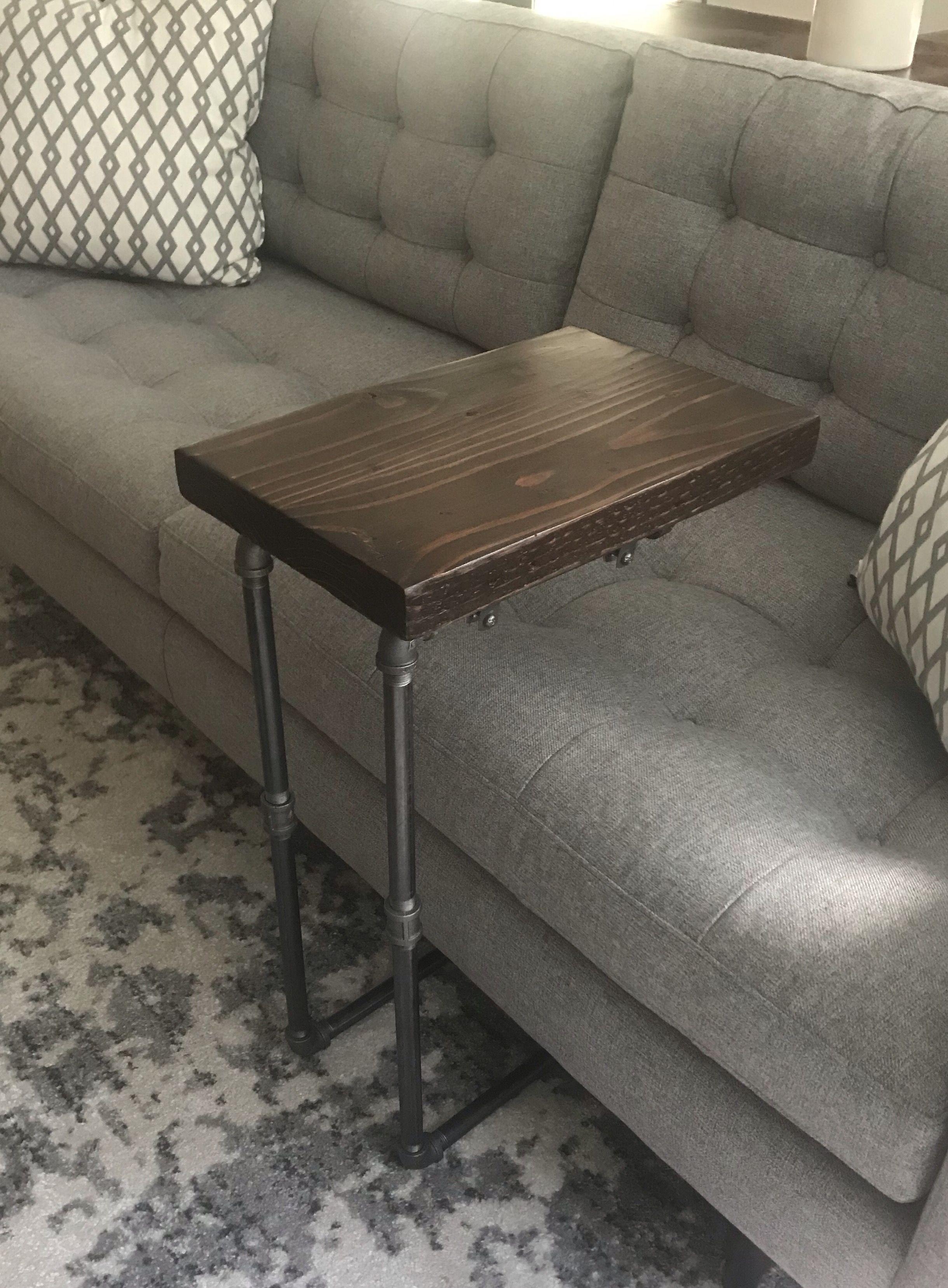 Reclaimed wood c table dark espresso finish black iron pipe base wrenchmaven etsy com