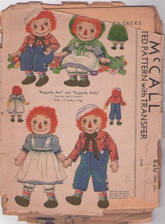 """MOMSPatterns Vintage Sewing Patterns - McCall's 820 Vintage 40's Sewing Pattern Sweet Collectible Raggedy Ann & Andy 19"""" Rag Doll, Dress, Overalls, Pinafore Apron, Hat, Cape & Transfer"""