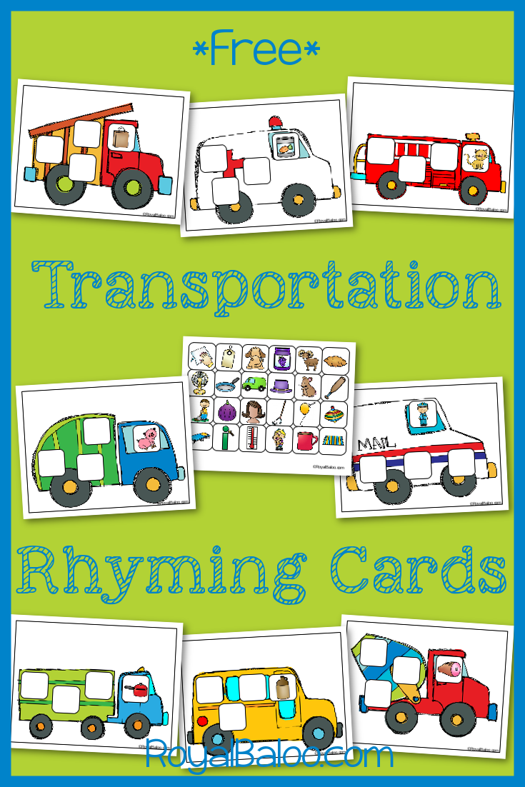Transportation Rhyming Cards | Transportation theme, Transportation ...