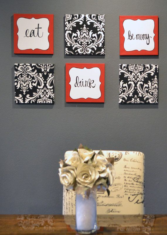 Eat Drink Be Merry Red Black White Wall Art 6 Pack Canvas