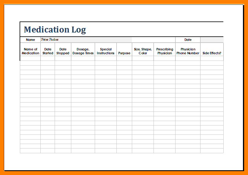 Medication List Template Medication List Medication Log